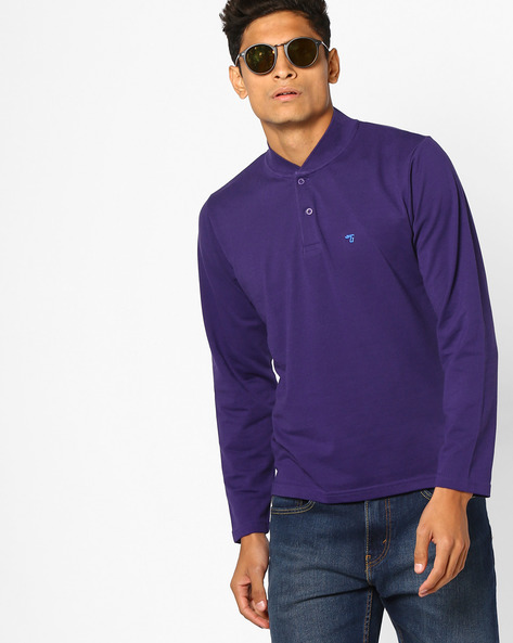 Cotton T-shirt With Ribbed Collar By The Indian Garage Co ( Purple )