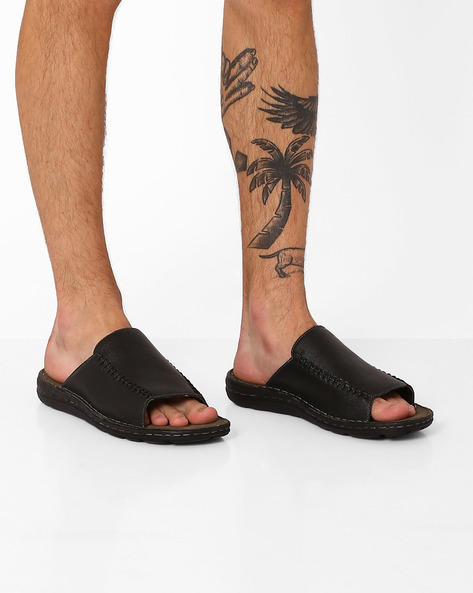 Genuine Leather Casual Flip-Flops By RED TAPE ( Black )