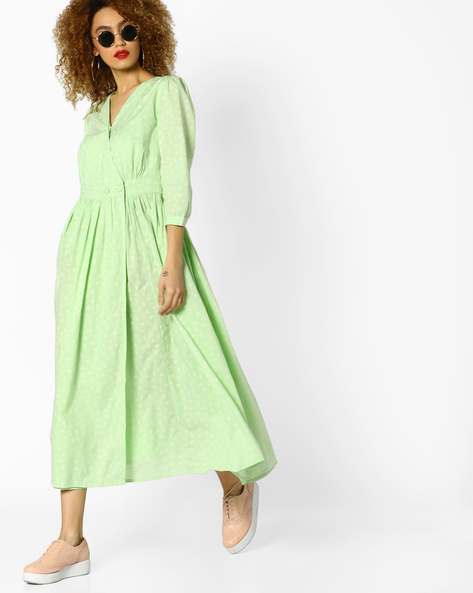 Fit & Flare Surplice Neckline Dress By AJIO ( Mint )