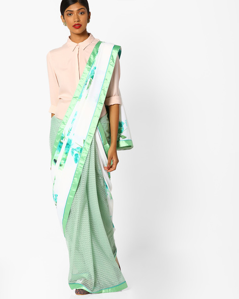 Half-and-Half Style Floral Print Saree By Runalaila ( White )