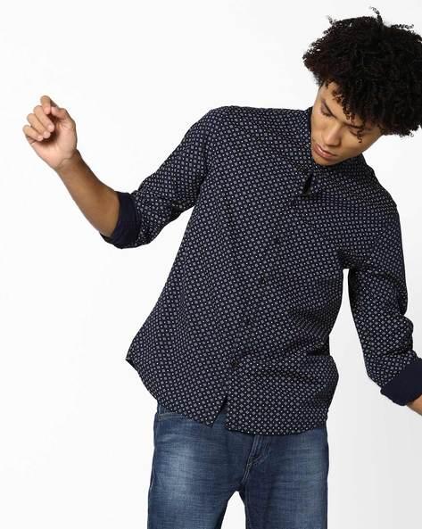 Printed Shirt With Mandarin Collar By AJIO ( Grey )