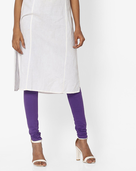 Knitted Churidar Leggings By AURELIA ( Purple )