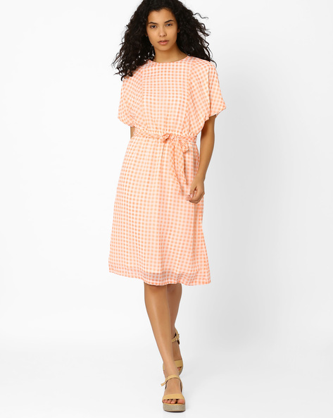 Checked Belted Dress By CHM ( Pink )