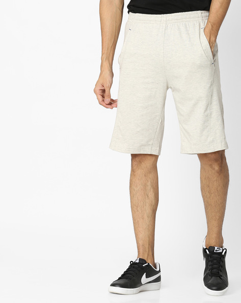 Cotton Shorts With Elasticated Waist By HANES ( Ecru )