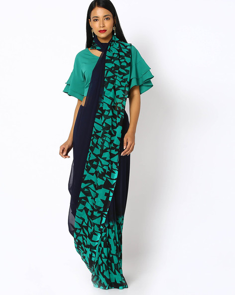 Geometric Print Saree With Blouse By Ishaya ( Blue )