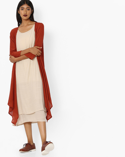 Layered Dress With Contrast Shrug By Tokyo Talkies ( Multi )