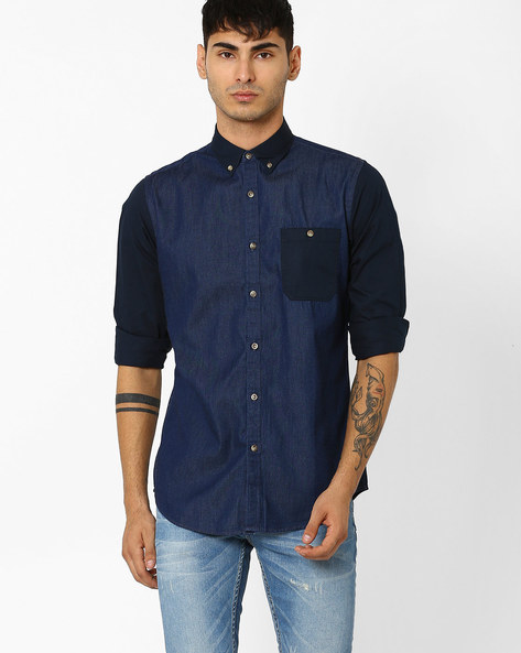 Denim Shirt With Curved Hemline By ADAMO LONDON ( Indigo )
