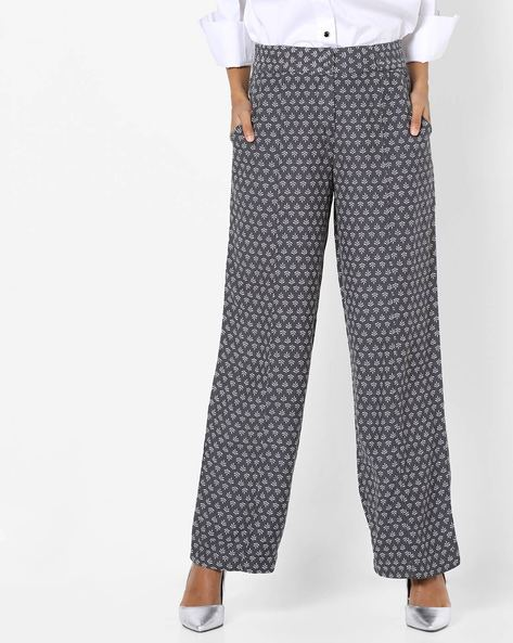 Printed Palazzo Pants With Elasticated Waist By Oxolloxo ( Grey )