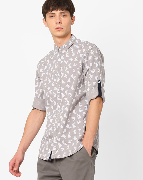 Geometric Print Slim Fit Shirt By AJIO ( Lightgrey )
