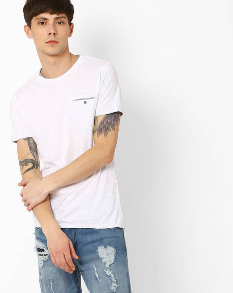Crew-Neck T-shirt With Patch Pocket By GAS ( 0001 )
