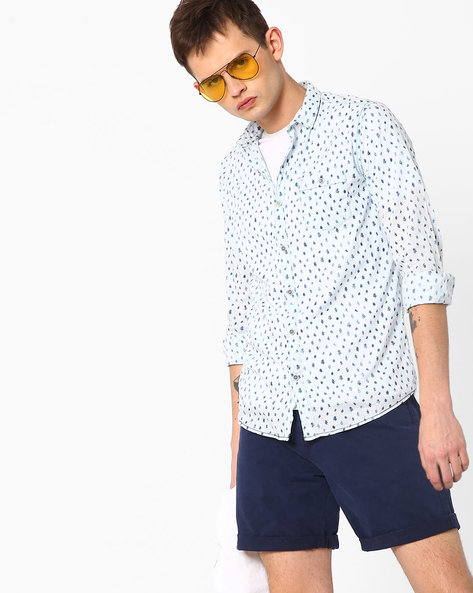 Printed Cotton Shirt By MUFTI ( Lightblue )