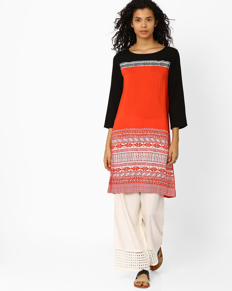 Printed Kurta By Global Desi ( Orange )