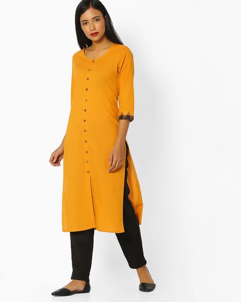 Straight Kurta With Front-Slit Hem By SIYAHI ( Mustard )