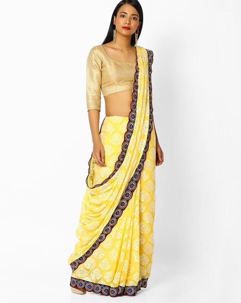 Floral Print Saree With Embroidered Border By Majestic Silk ( Yellow )