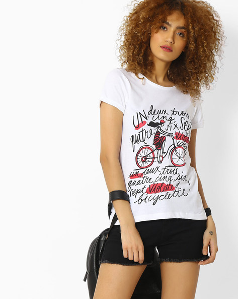 Printed Crew-Neck T-shirt By Blue Saint ( White )