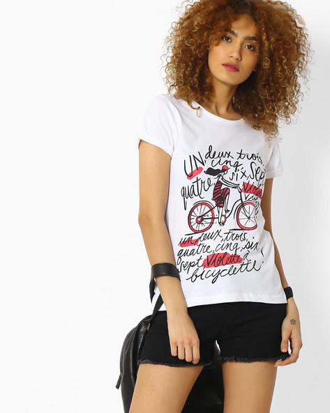 Printed Crew-Neck T-shirt By Blue Saint ( White )