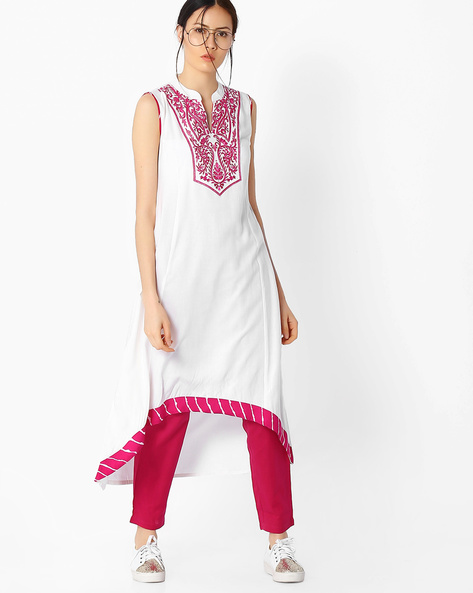Sleeveless Kurta With Asymmetrical Hem By Indian Ink ( Pink )