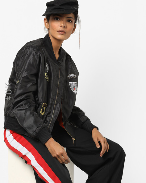 Front-Zip Jacket With Applique By INFLUENCE ( Black )