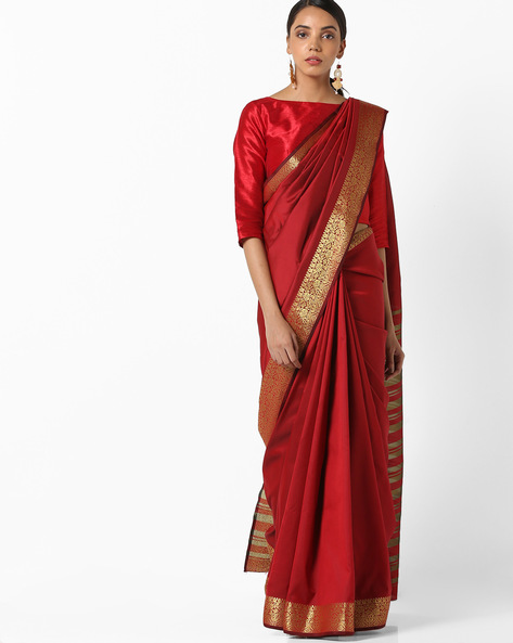 Banarasi Woven Saree With Zari Border By Parmita ( Maroon )