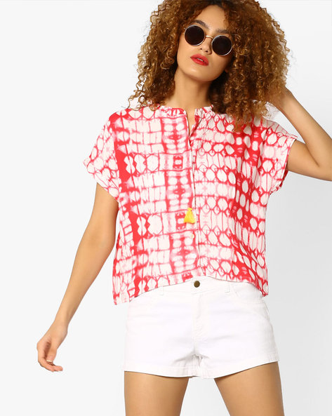 Printed Crop Top With Ruffled Neckline By AJIO ( Coral )