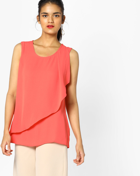 Sleeveless Top With Overlay By Project Eve WW Casual ( Coral )