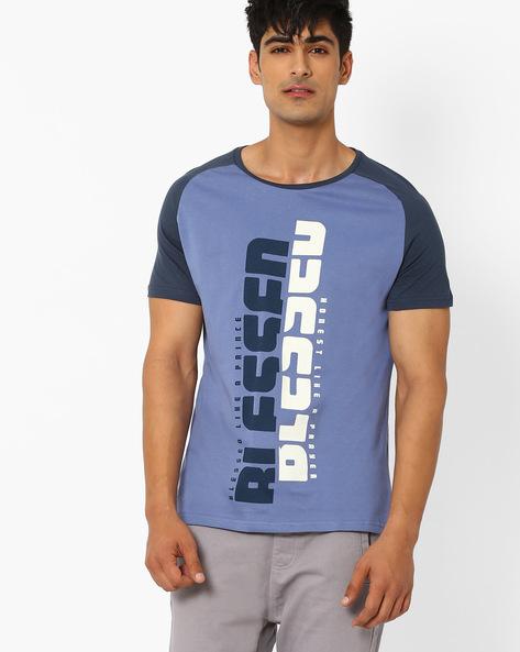 Typographic Print Crew-Neck T-shirt By AJIO ( Blue )