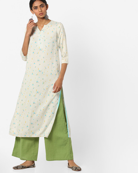 All-Over Print Straight Kurta By AJIO ( Offwhite )