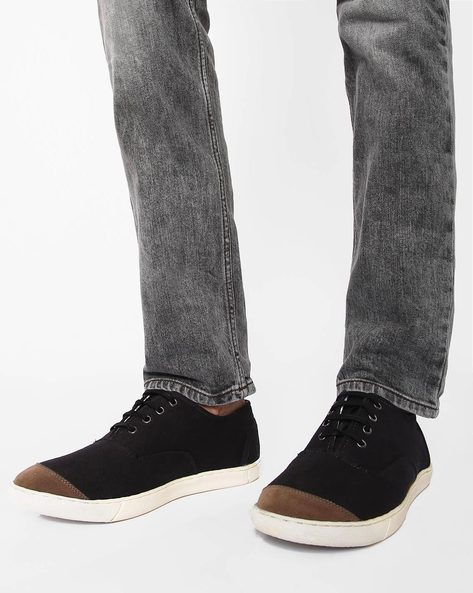 N9-Treated Canvas Sneakers By AJIO ( Black )