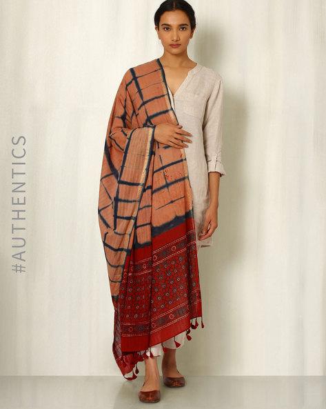 Ajrak Handblock Print Shibori Cotton Dupatta By Indie Picks ( Beige )