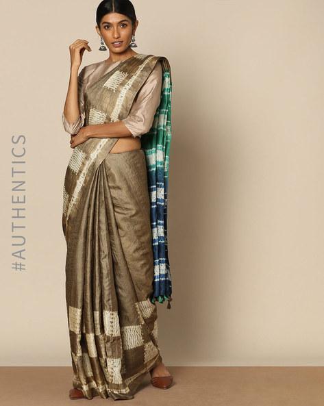 Pure Silk Tussar Desi Shibori Saree By Rudrakaashe-MSU ( Blue ) - 460128262001