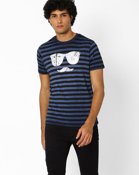 Striped Crew-Neck T-shirt With Foil Print By Garcon ( Blue )