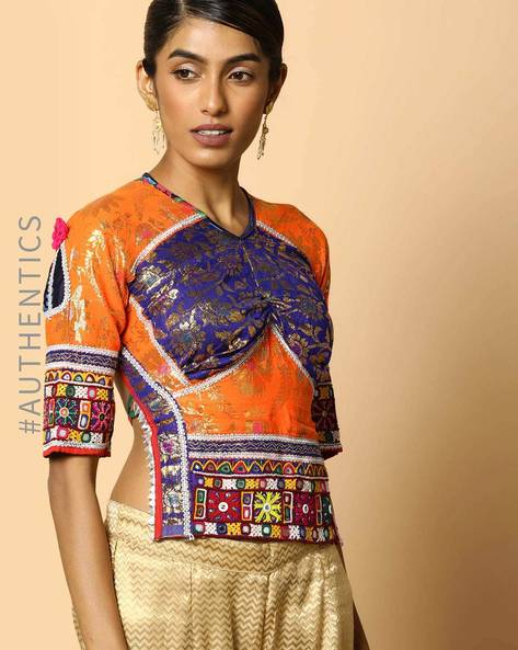Kutch Embroidered Backless Blouse By Indie Picks ( Multi )