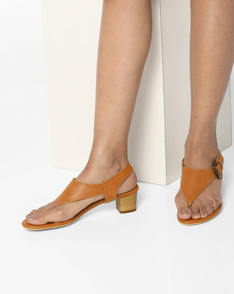 AJIO Tan Brown Chunky Heels Thong-Style Sandals with Chunky Heels
