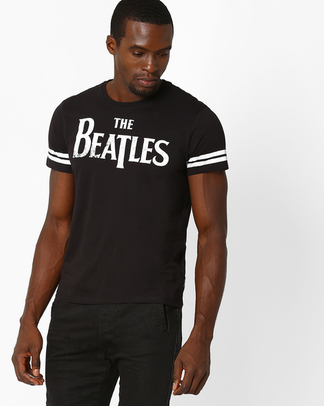 Beatles Print Crew-Neck T-shirt By Free Authority ( Black )