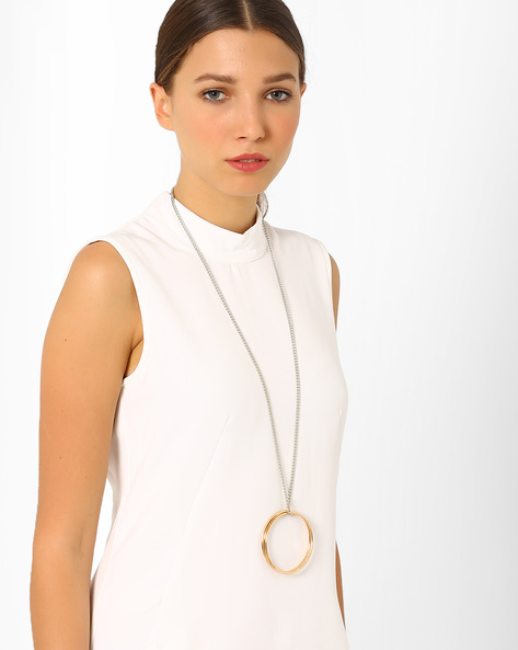 Long Statement Necklace By AJIO ( Gold )