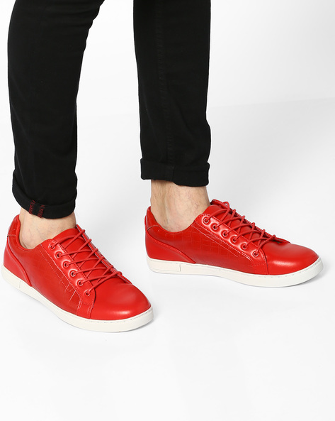Panelled Low-Top Lace-Up Sneakers By AJIO ( Red )