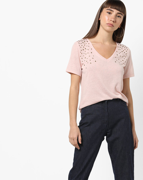 V-neck T-shirt With Metal Studs By Only ( Babypink )