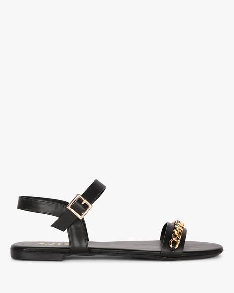 Ankle-Strap Embellished Flat Sandals By AJIO ( Black )