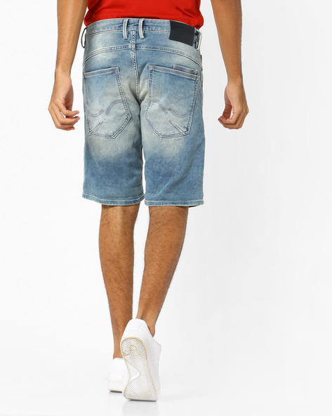 Ji Rick Sh Ry 3650 Lightly Washed Denim Shorts By Jack & Jones ( Blue )