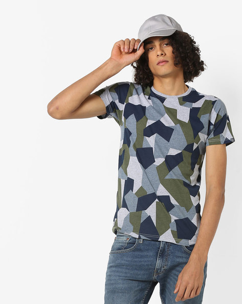 Printed Slim Fit Cotton T-shirt By Pepe Jeans ( Olive )