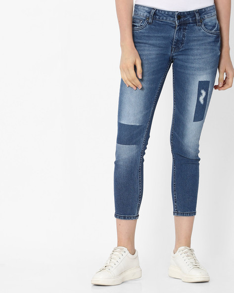 Lightly Washed Cropped Jeans By Pepe Jeans ( Blue )