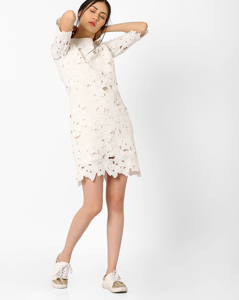 Schiffli Lace Dress By AJIO ( White )
