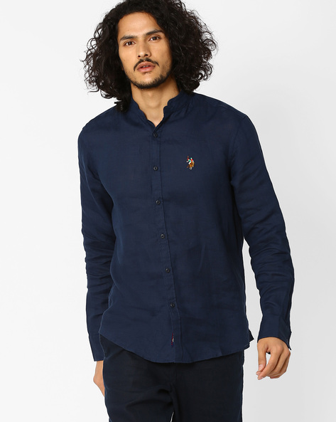 Slim Fit Shirt With Curved Hemline By US POLO ( Navy )