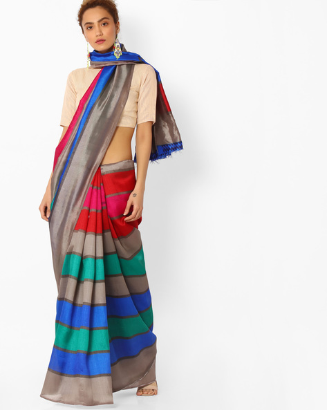 Colourblock Saree With Blouse By Majestic Silk ( Multi )
