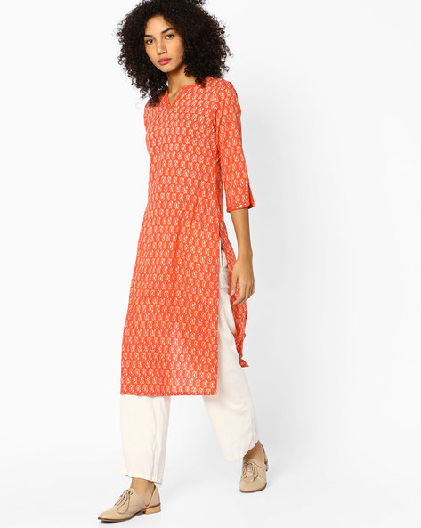 Paisley Print Straight Kurta With Slit Sleeve Hems By AJIO ( Rust )