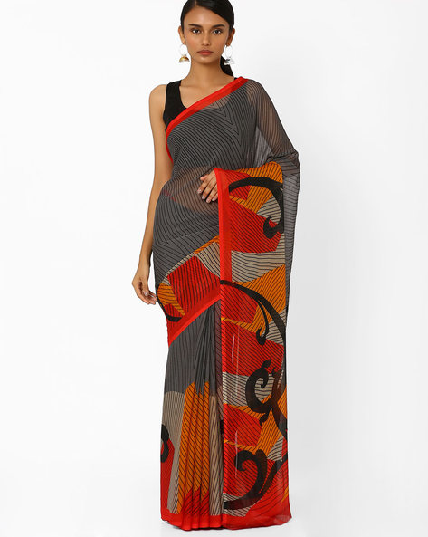 Striped Saree With Contrast Border By Akoya ( Black )