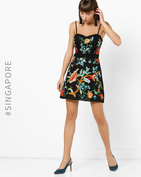 Strappy Floral Embroidered Mini Dress By MDS ( Black )