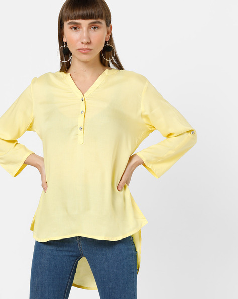 High-Low Kurta With Notched Neckline By ETHNIC CURRY ( Yellow )