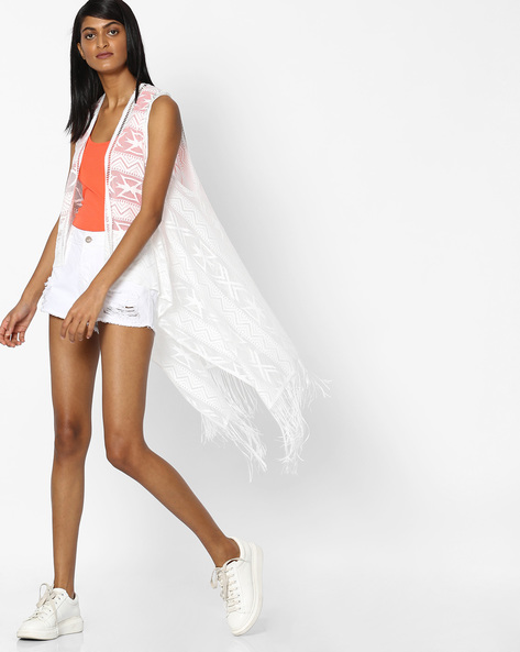 Sleeveless Shrug With Tassels By Pink Woman ( White )