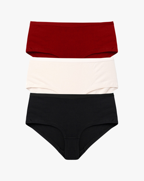 Pack Of 3 Hipster Briefs By Ginger By Lifestyle ( Maroon )